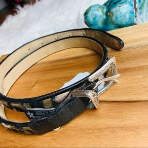 Brighton Leopard and Leather Belt Size M/30